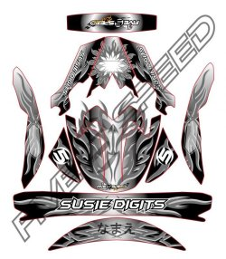 画像1: ヘルメットデカール トライバル ブラック